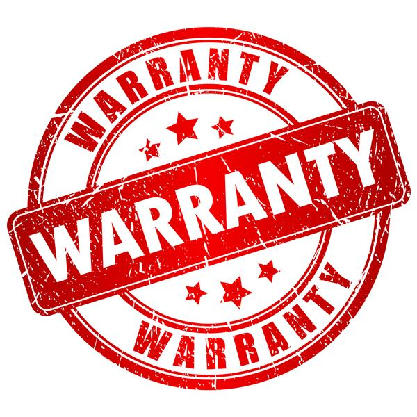 Picture of a red and white Warranty sign
